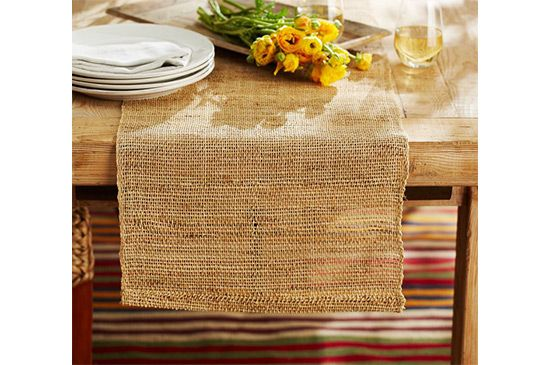 Pottery Barn  Open Weave Natural Fiber Table Runner