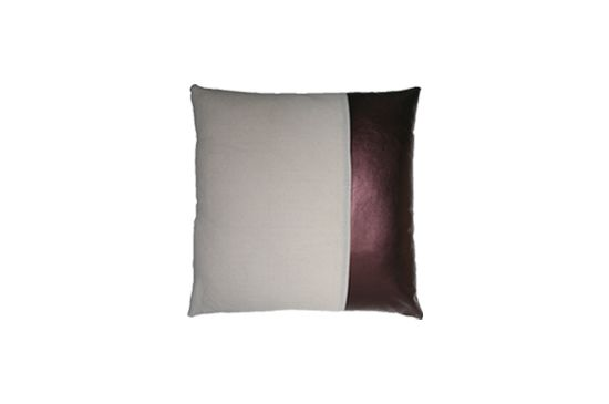 Stone Textile Leather Color Block Pillow