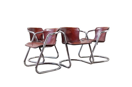 1st Dibs Leather and Chrome Dining Chairs
