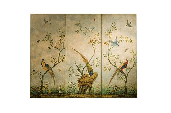 MBW Furniture Antiqued Asian Birds Wall Screen