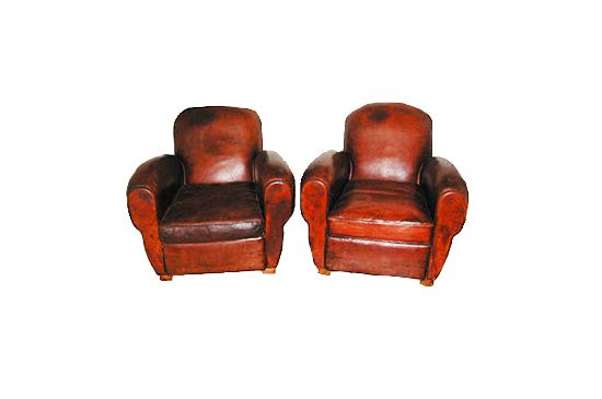 Dispela Antiques French Leather Club Chairs, Pair for $6800