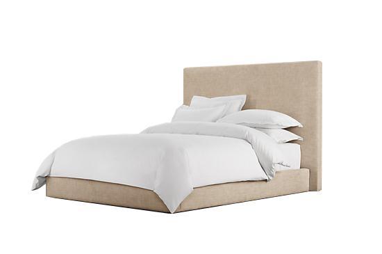"""Restoration Hardware Sullivan Upholstered Platform Bed in """"Flax"""" Vintage Velvet"""