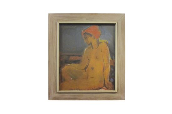 1st Dibs Painting of Nude Woman with Red Turban