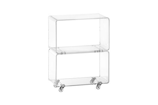 CB2 Peekabo Clear Rolling Two Shelf