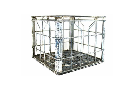 Second Shout Out Vintage Metal Milk Crate