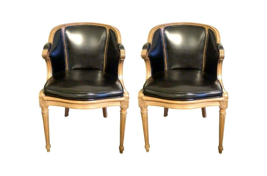 Chairish Wood And Leather Club Chairs