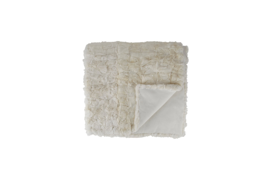 Adrienne Landau Textured Mosaic Fur Throw