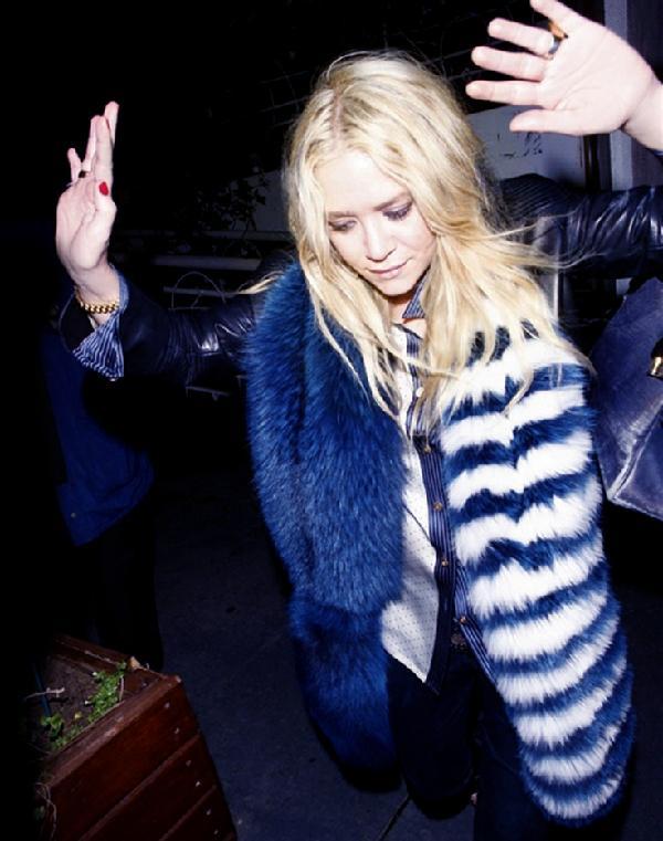 Mary-Kate Olsen in a Prada fur.