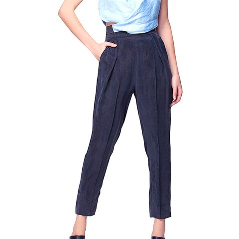 Beg Trousers With High Waist