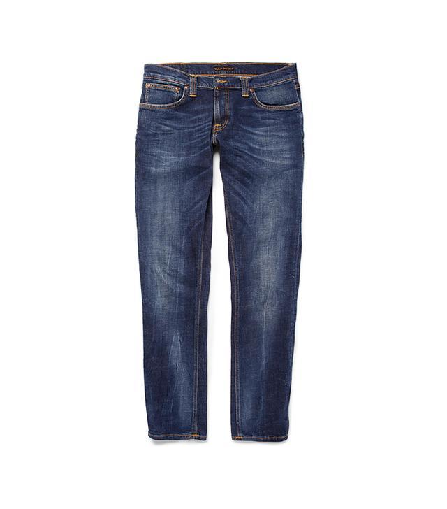 Nudie Tight Long John Slim-Fit Washed-Denim Jeans