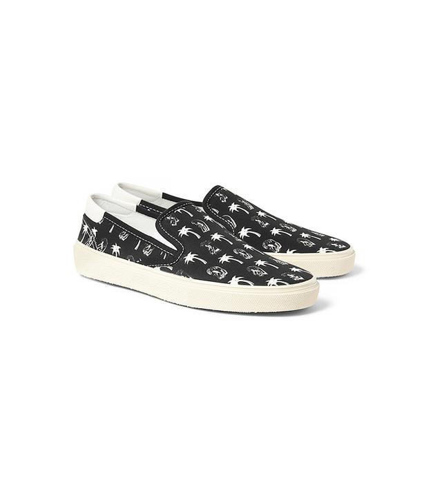 Saint Laurent Printed Canvas Slip-On Sneakers