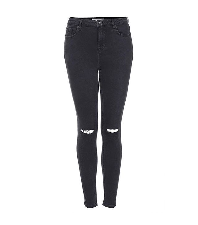 Topshop Moto Ripped Black Wash Jamie Jeans