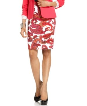 Grace Elements Paisley-Print Pencil Skirt