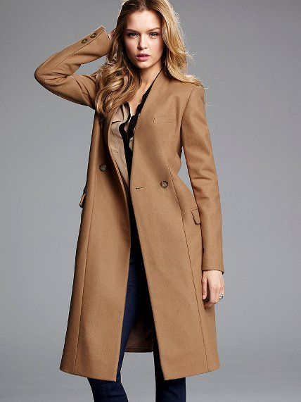 Victoria's Secret Collarless Wool Coat