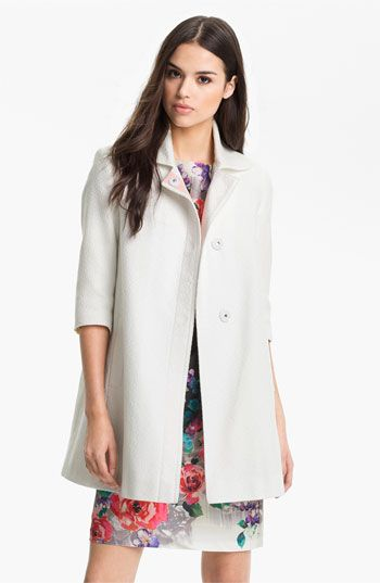 Tahari Three Fourths Sleeve Walking Coat