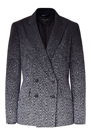 Rag & Bone Black/Silver Grey Faded Herringbone Blazer