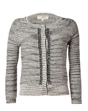 Vanessa Bruno Athe Tonal Grey Variegated Knit Cotton-Linen Cardigan