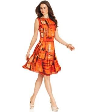 Jones New York  Sleeveless Printed A-Line Dress
