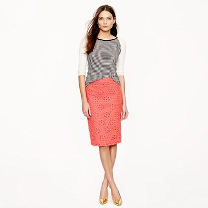 J.Crew  No. 2 Pencil Skirt in Pinwheel Eyelet