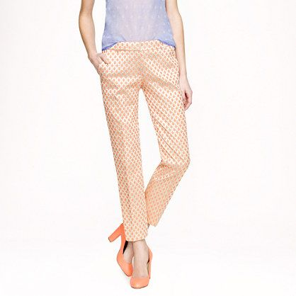 J.Crew Cafe Capri in Gilded Dot Brocade