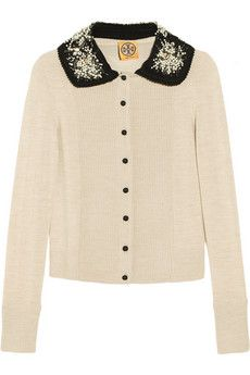 Tory Burch Bria Embellished-Collar Wool Cardigan