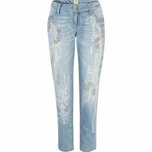 River Island  Light Wash Embellished Cassie Boyfriend Jeans