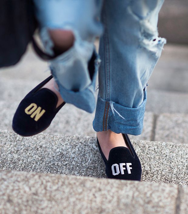 Style note: Let your feet do the talking with statement slippers.