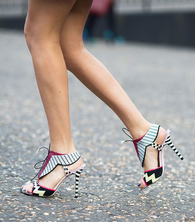 Style note: Heels with mixed prints are a party-perfect pick.