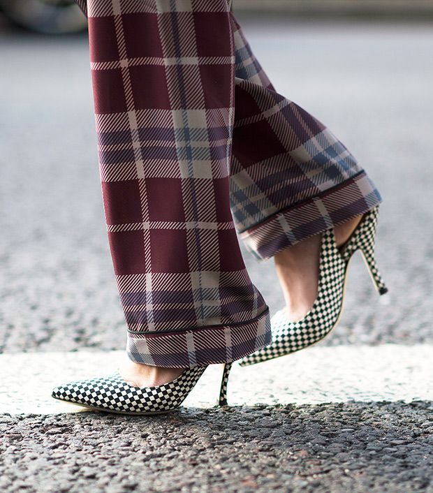 Style note: Retro slingbacks get a chic makeover with a checkered print.