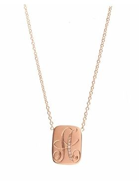 Ariel Gordon Jewellery  Ariel Gordon Jewellery Pave Diamond Signet Dog Tag Necklace