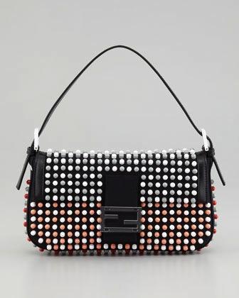 Fendi Fendi 3D Enamel Studded Baguette Bag