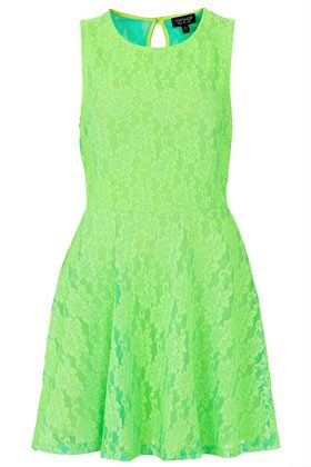 Topshop  Fluorescent Lace Flippy Tunic