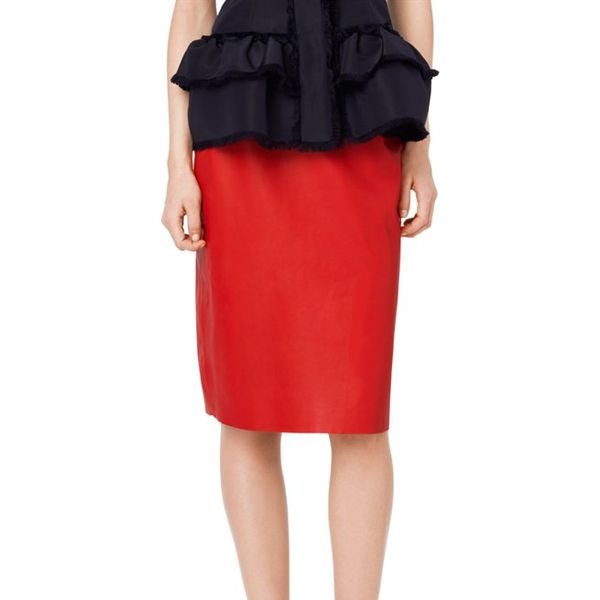Oscar de la Renta Darted Leather Pencil Skirt