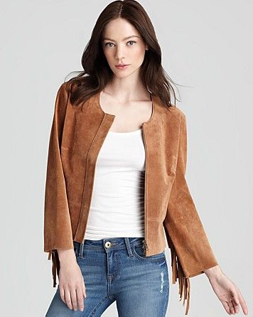 Plenty by Tracy Reese  Jacket Suede Fringe