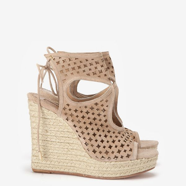 Aquazurra  Lasercut Suede Wedge Sandals