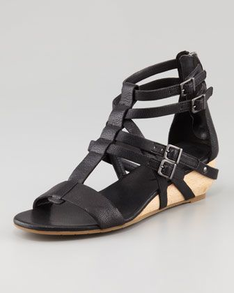 Eileen Fisher  Echo Low-Wedge Gladiator Sandals