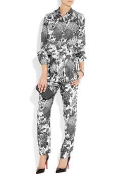 Stella McCartney Christine Floral-Print Silk Tapered Pants