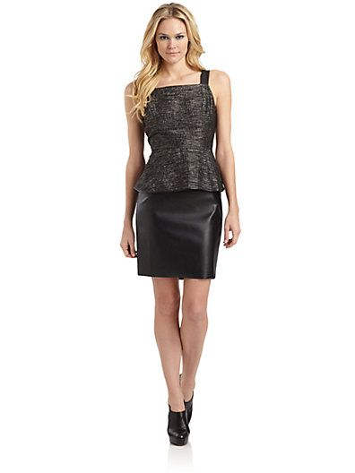 Sachin + Babi  Francesca Boucle Leather Peplum Dress