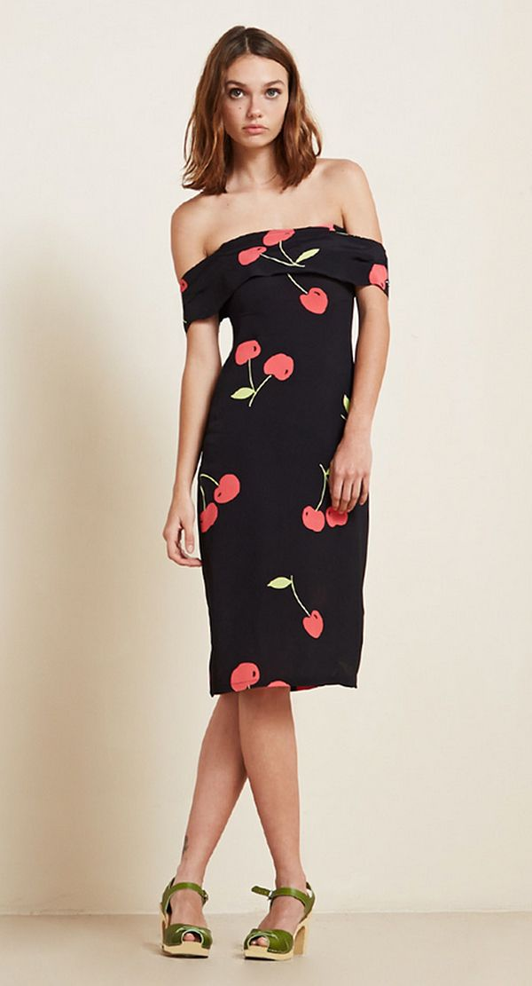 The Reformation Carrera Dress in Black Cherry