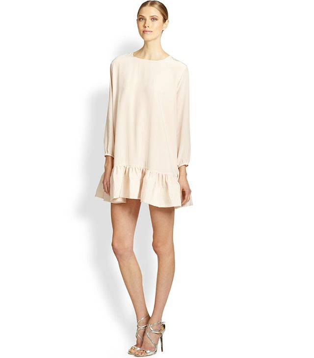 Cynthia Rowley Silk Crepe De Chine Flounced Dress