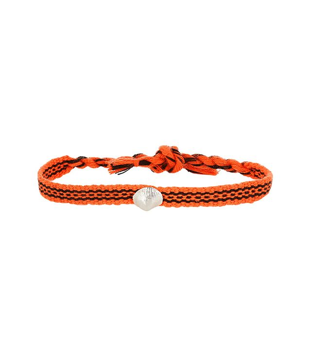 Dezso By Sara Beltràn Shell Woven Cotton And Silver Friendship Bracelet