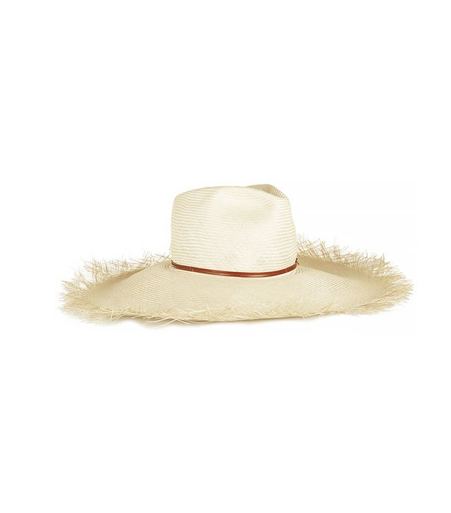 Finds + Hatmaker Gabon Leather-Trimmed Straw Wide-Brim Hat