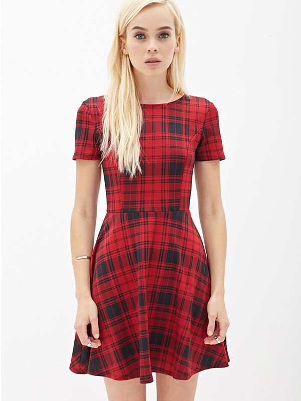 Forever 21 Plaid Scuba Knit Skater Dress