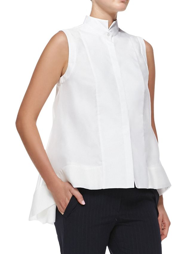 Brunello Cucinelli Sleeveless Layered-Hem Blouse
