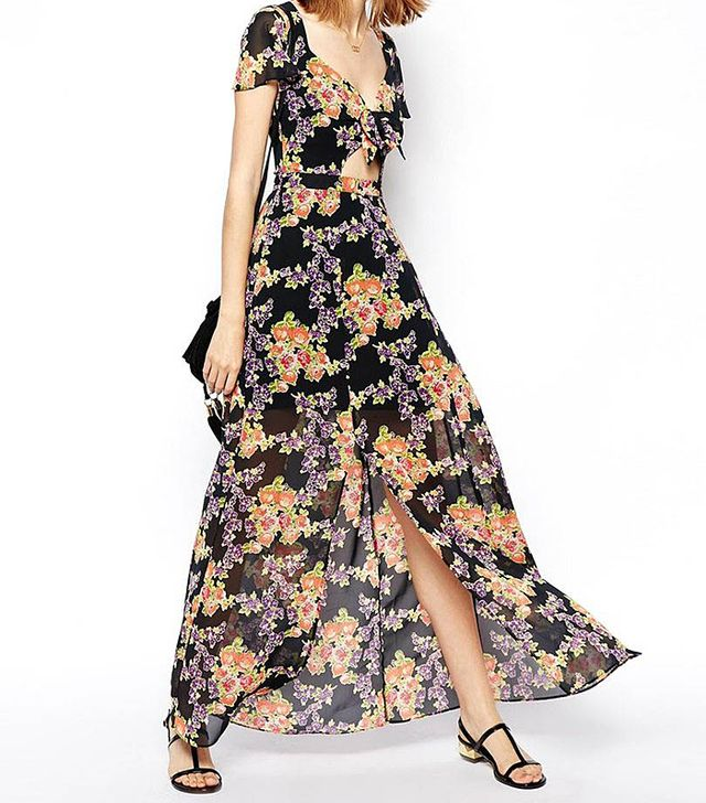ASOS Maxi Dress With Cut Out In Floral Print