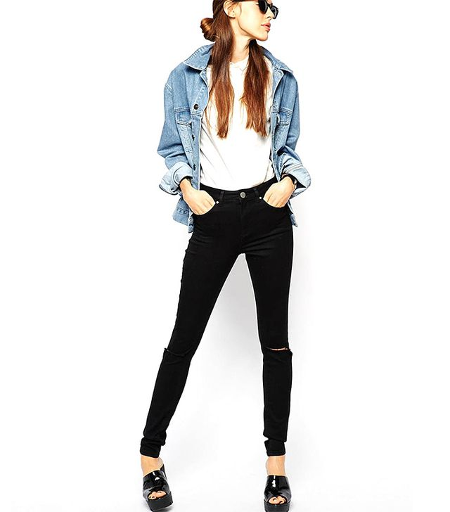 ASOS Ridley High Waist Ultra Skinny Jeans In Clean Black With Busted Knees