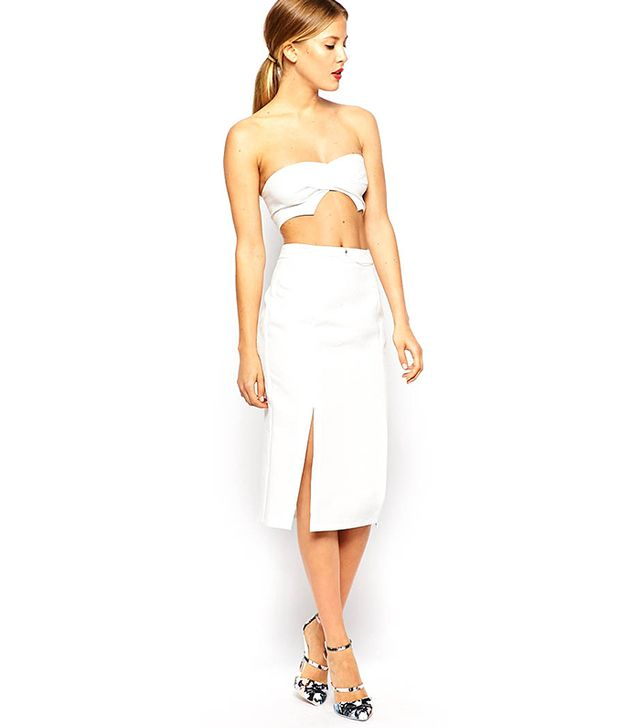 ASOS Twisted Textured Front Bralet and Split Front Textured Pencil Skirt