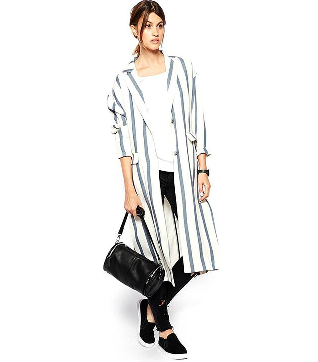ASOS WHITE Striped Duster Coat