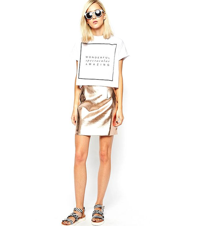 River Island Copper Mini Skirt