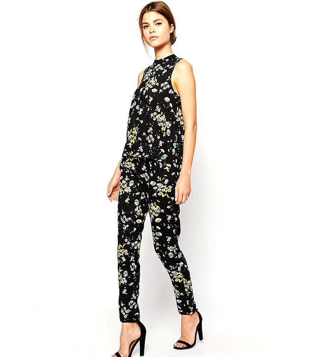 Warehouse Floral Printed Sleeveless Top and Floral Printed Trousers